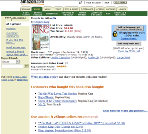 Customer Reviews and Similar Products on an early 2000 version of Amazon's website